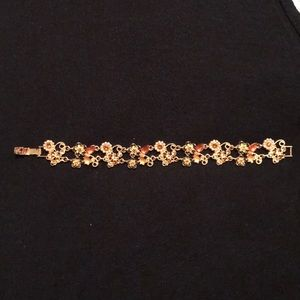 Fashion gold plated bracelet with rose accents